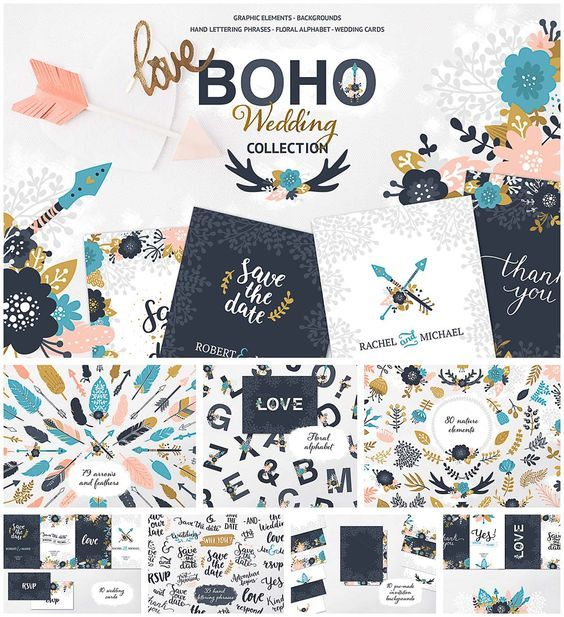 Free printable and free download lovely Boho Wedding Card Template Collection.Consist of 80 element of nature such as branches, frames, leaves, laurels, bouquets and flowers,35 hand lettering phrases, 79 arrows and feather, floral alphabet, 8 editable wedding cards, and also 10 pre-made invitation backgrounds. Great collection for save the date cards and wedding invitations.