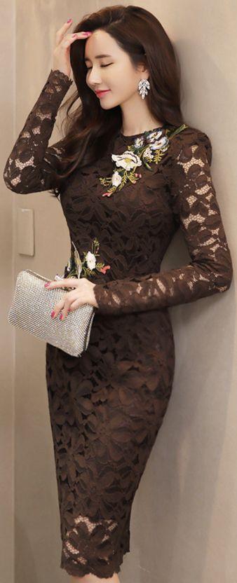 StyleOnme_Flower Embroidered Lace Dress #lace #elegant #floral #dress #koreanfashion #kstyle #kfashion #feminine #wintertrend #seoul #datelook