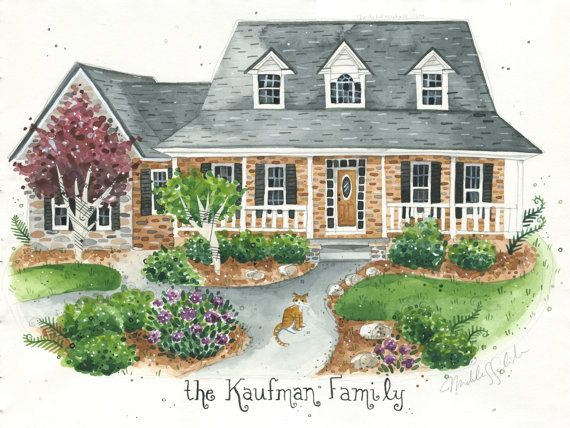 Customizable House Portrait, watercolor  Would love to have one for each of the houses we've lived in!