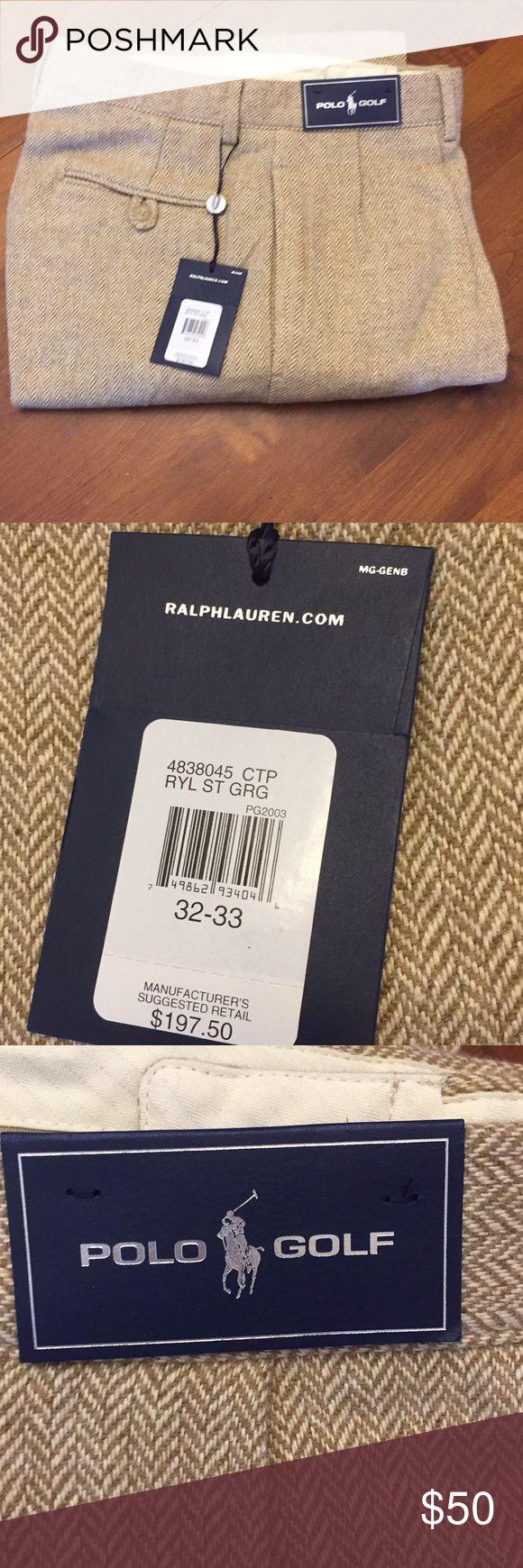 Polo Golf Silk/Wool Pants Tan Herringbone Size 32 Polo Golf Silk/Wool Pants Tan Herringbone Size 32. NWT, Never worn. Original price $197.50. Length 33 inches. Lined.   55% Silk, 45% Wool. Polo by Ralph Lauren Pants Dress