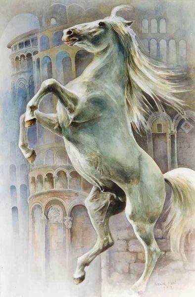"""""""Rebelion in Pisa"""" watercolor 100X70 1998"""