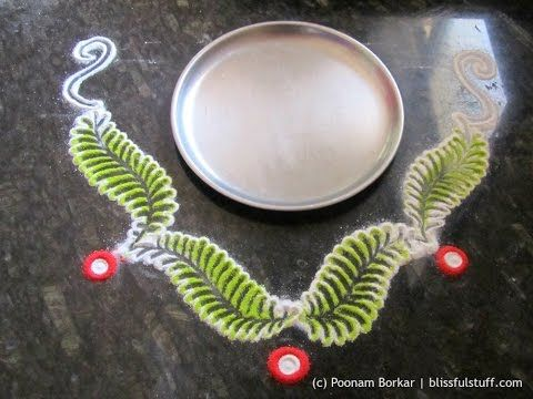 Easy rangoli design around the plate - 2 | Innovative rangoli designs by Poonam Borkar - YouTube