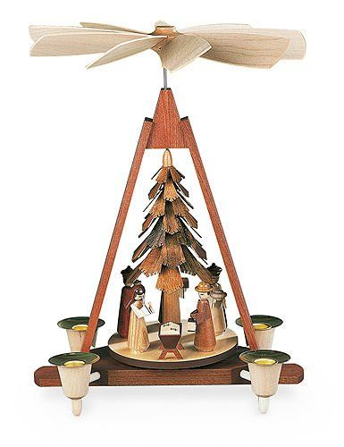 German christmas pyramid Nativity scene, 1-tier, height 30 cm / 12 inch, natural, original Erzgebirge by Mueller Seiffen MU 10324. Handmade in Germany. Ships directly from the Ore Mountains in Saxony. Made in Germany. Colour: Natural 2 years product warranty. Item dimensions: width: 1181, height: 551. Original Handcraft from Seiffen / Erzgebirge. Premium Workhops & Manufacturers.