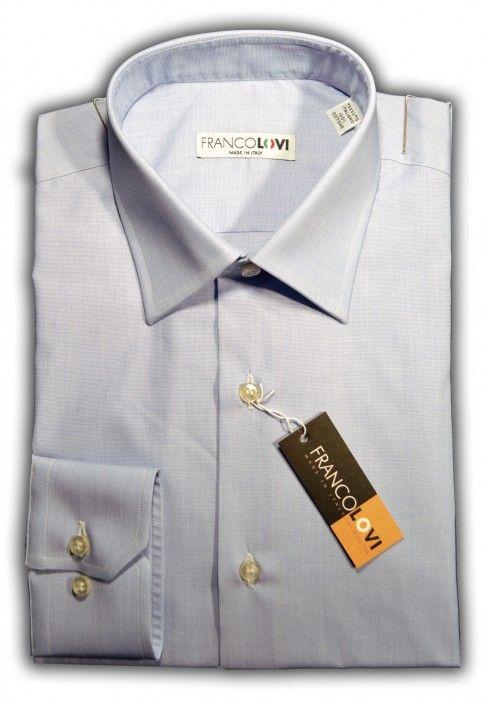 Camicia Uomo Collo Italiano Unito Celeste