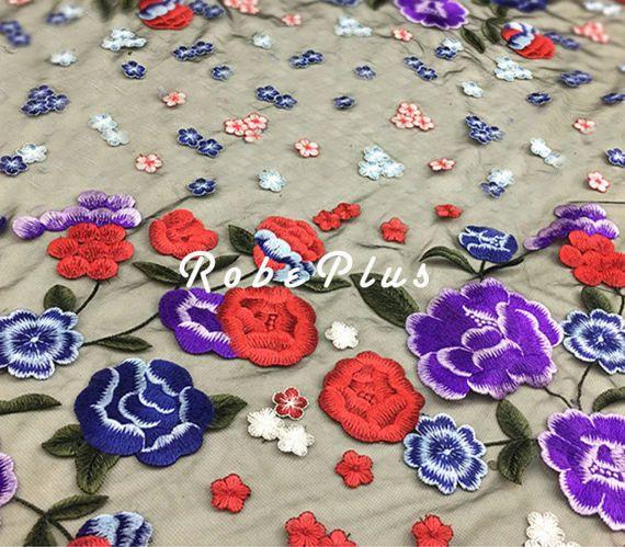 Schiffli Lace Multi-Color Tulle Borduur Lace bloemen door RobePlus