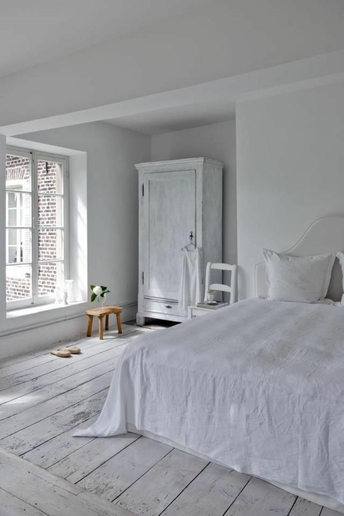le parquet blanc une jolie tendance d co chambres coucher blanches d cor. Black Bedroom Furniture Sets. Home Design Ideas