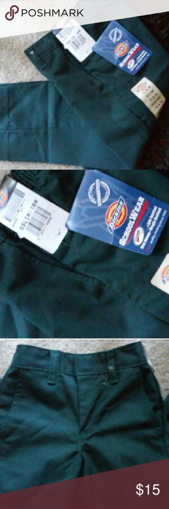"""Dickies Forest Green Pants, Size 5 Slim, 18"""" Waist Pants in forest green color, size 5 slim, 18"""" waist and 24"""" long. New with tags. Dickies Bottoms Casual"""