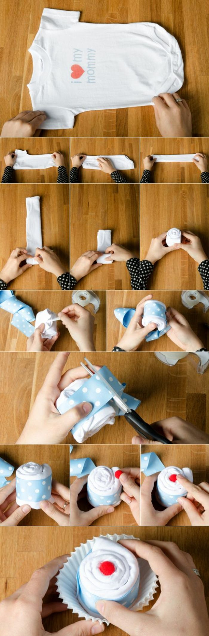 tuto pour réaliser des bodies cupcakes, idées de cadeau pour une baby shower fille ou garçon