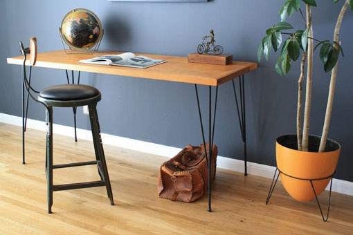 This desk! I also love this tone of wood against the complementary blue-gray walls. From Mid-Century Modern Finds, San Francisco.