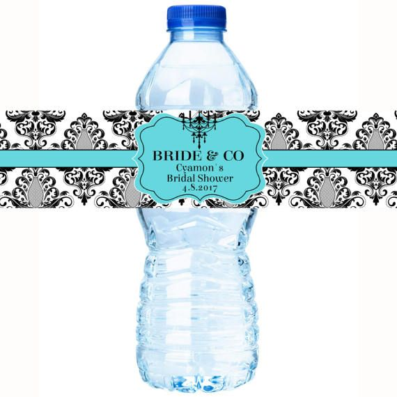 30 Breakfast At Tiffany's Birthday Party - Personalized Water Bottle Labels - Bride and Co Labels  - Damask Water Labels - Chandelier Labels