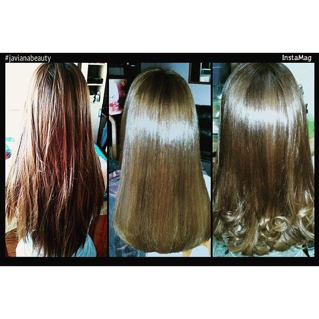 Antes y Después. Balayage más corte con nutrición de aceite de Argan y shock keratina seda #hair #hairinspiration #cabellohermoso #javianabeauty #balayage #cabellosano.