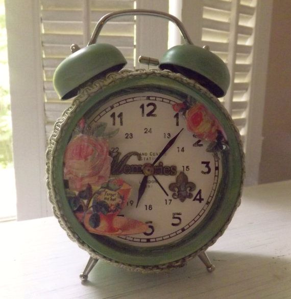 Victorian Alarm Clock Shadowbox Memory Keepsake with Victorian Scrap Flowers, Tea Cups, Antique Watch Face~Green Decorative Shabby Clock