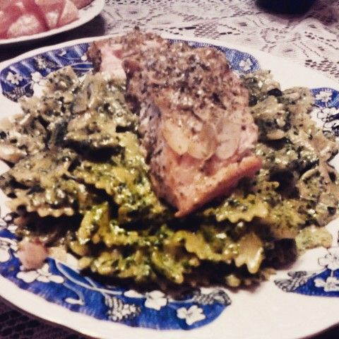 Salmon with farfalle spinachi and almonds:)