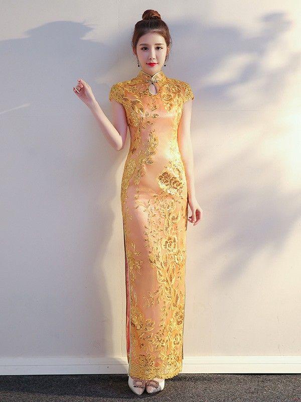 Pink Sequined Long Qipao / Cheongsam Evening Dress