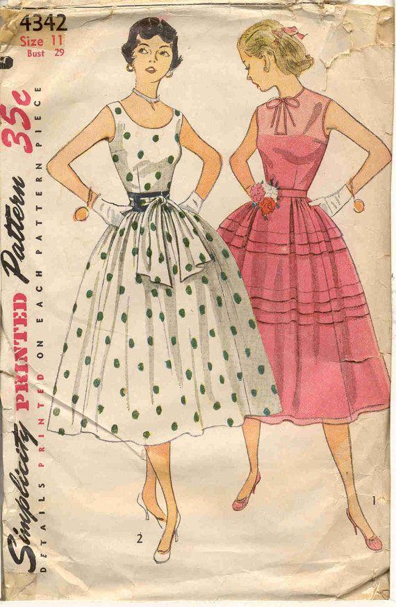 Simplicity 4342 Vintage 1950s Fancy Dress Pattern  by bellaloona, $8.00