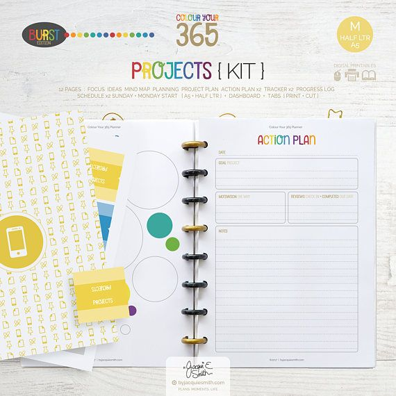 Printable Planner Projects Page Inserts  A5  Half Letter