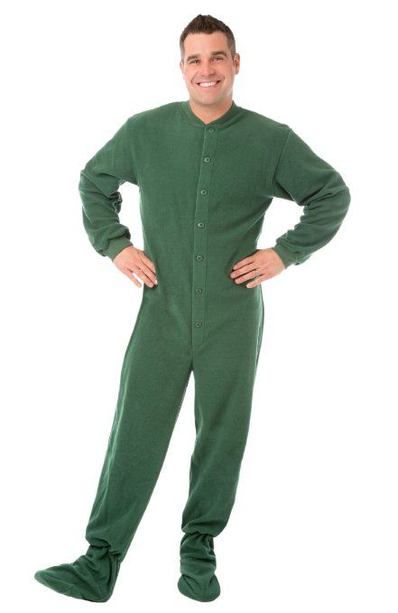 Green Micro-polar Fleece Adult Footed #Pajamas with Drop Seat