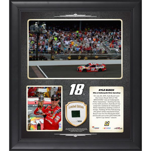 Kyle Busch Fanatics Authentic 2015 Crown Royal Presents the Brickyard 400 at Indianapolis Motor Speedway Race Winner Framed 15'' x 17'' Collage With Piece of Race-Used Tire - Limited Edition of 500 - $79.99