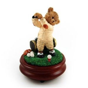 The Perfect Swing with Golfer Threadbear Musical Figurine This sweet music box has an 18 note movement. It is made of a highly resilient resin and is hand painted.