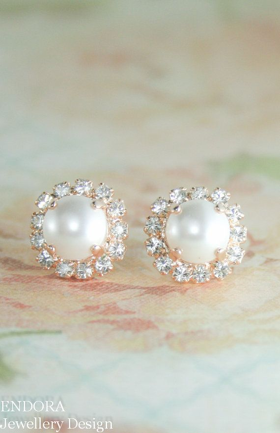 rose gold pearl earrings    we ❤ this!  moncheribridals.com    #weddingearrings