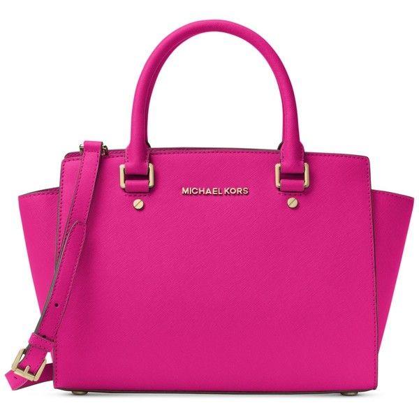 Michael Michael Kors Selma Medium Satchel (3 715 ZAR) ❤ liked on Polyvore featuring bags, handbags, raspberry, pink satchel, satchel purses, pink purse, satchel handbags and hand bags
