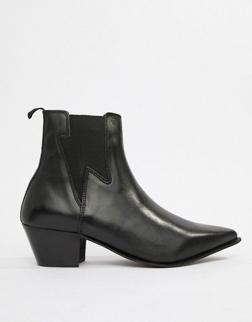 d7582d696e7 DESIGN stacked heel western boots in black leather with lightning ...