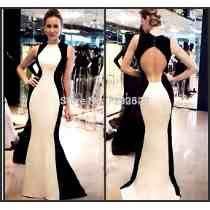 Vestido Sereia Longo Festa Luxo Verão Preto E Branco