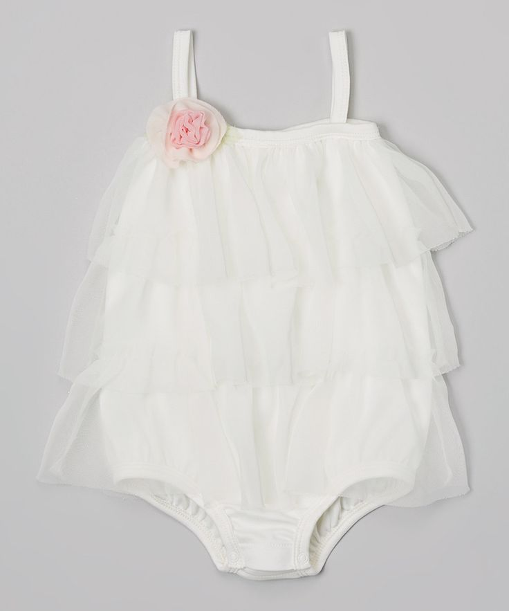 Look at this Off-White Ruffle Romper - Infant on #zulily today!
