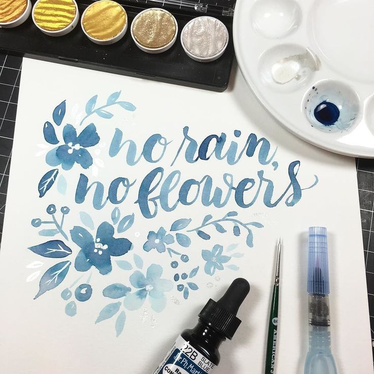 Early morning watercolor brush lettering (and some flowers and leaves because I can't resist). Day 16 of the #letteritmarch challenge from @jennyhighsmith. --------------- Brushes: Pentel Aquash Water Brush size small (blue lettering and flowers) Cheap Joes synthetic round brush size 8x0 (all silver) Watercolor: Dr. Ph. Martin Radiant Concentrated Water Color in Slate Blue FineTec Pearl Colors in Sterling Silver Paper: Canson XL Watercolor --------------- #kwdesign365quotes #brushlettering…
