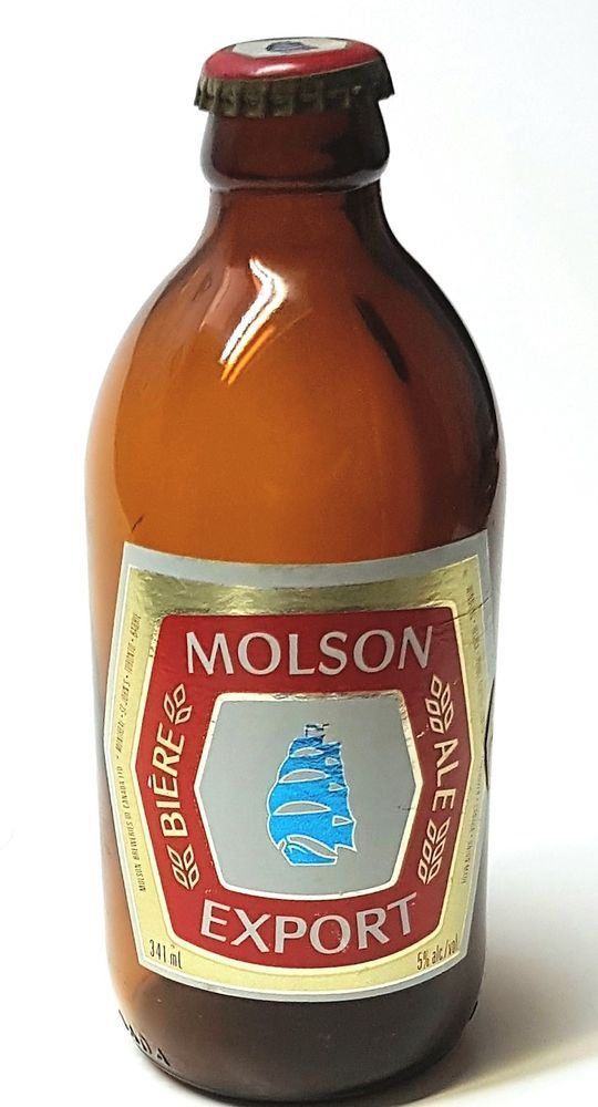 """Molson Export  Stubby (6.5"""") Beer Bottle with Cap Canada - Vintage Collectible 
