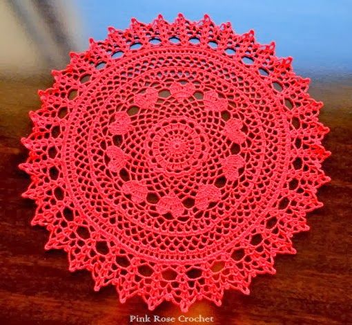 Valentine Ring of Hearts Doily