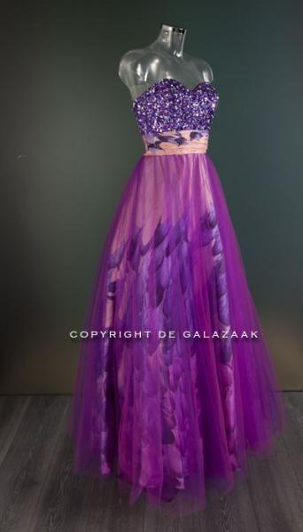 Galajurk met voile rok in paars | De Galazaak - Galajurken en cocktailjurken in alle prijsklassen