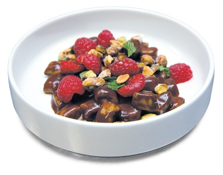 Key Ingredient: Bee Pollen  Bee pollen gnocchi with chocolate sauce, candied pistachios, raspberries, and mint