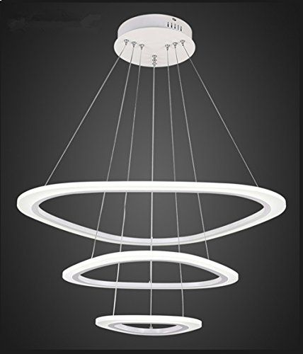 Em modern round led chandelier adjustable hanging light with 3 rings contemporary ceiling pendant lighting led