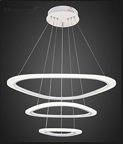 Em modern round led chandelier adjustable hanging light with 3 rings contemporary ceiling pendant lighting led