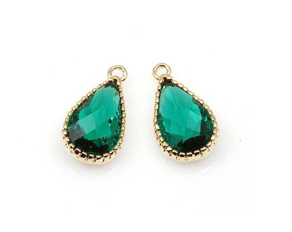 2pcs  Emerald Color and Gold Framed Glass Teardrop Pendant /