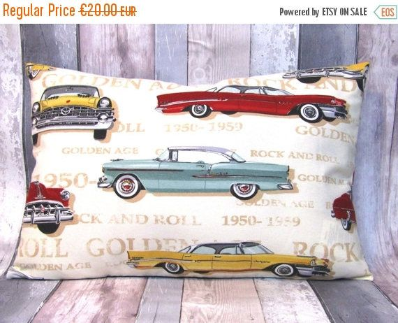 Sale Hot Rod Rockabilly Golden Age cushion cover 16 x 24, Living Room, Home Decor, Cars Cushion Cover by matildasworld15 on Etsy