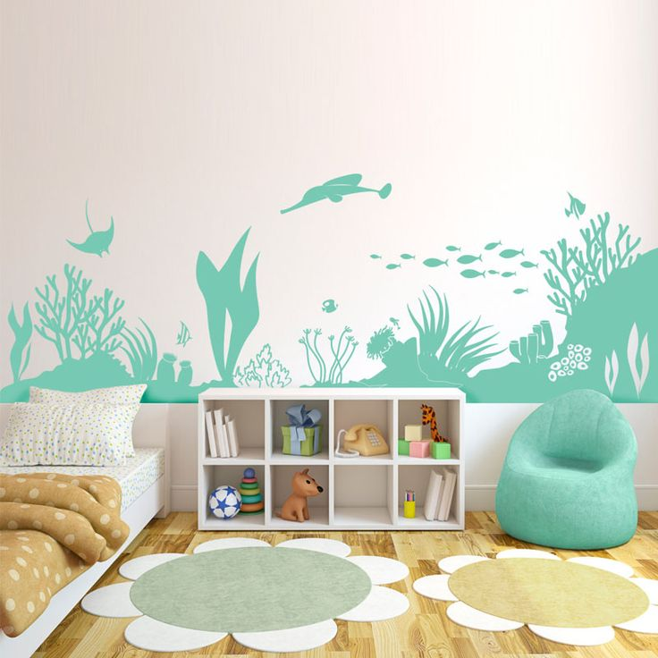 Underwater World Silhouette Wall Decals Home Decor Sea Grass Coral Infauna Wall Stickers Vinyl Removable Art