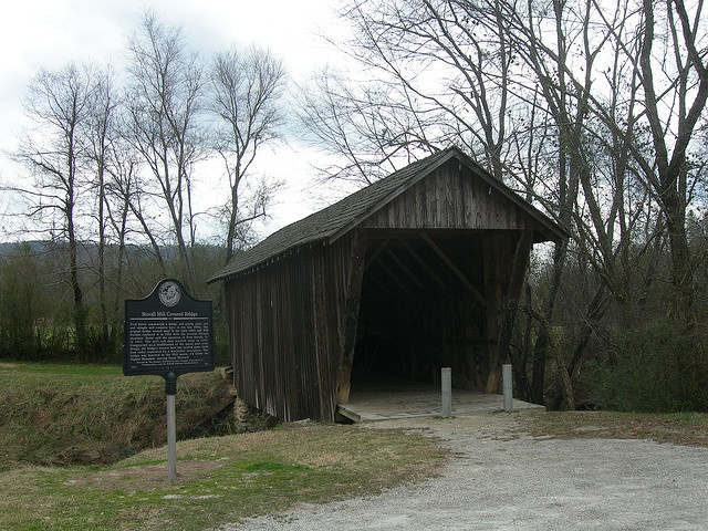 "Stovall Mill Covered Bridge near Helen Georgia in Sautee Georgia. This bridge was featured in the 1951 movie ""I'd Climb the Highest Mountain"" starring Susan Hayward."