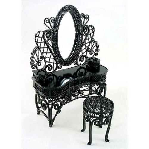 Great Gothic metal mirror and make-up table