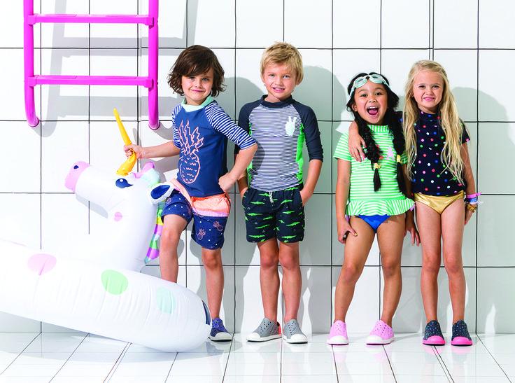 SPLISH SPLASH! You're invited to our POOL PARTY! Click the image to shop our new Swim Range NOW! #cottononkids #cottononkidsswim #swimrange #inflatables