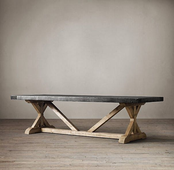 Anthropologie Dining Table | Restoration Hardware Salvaged Wood And  Concrete X Base Table 72 Part 12
