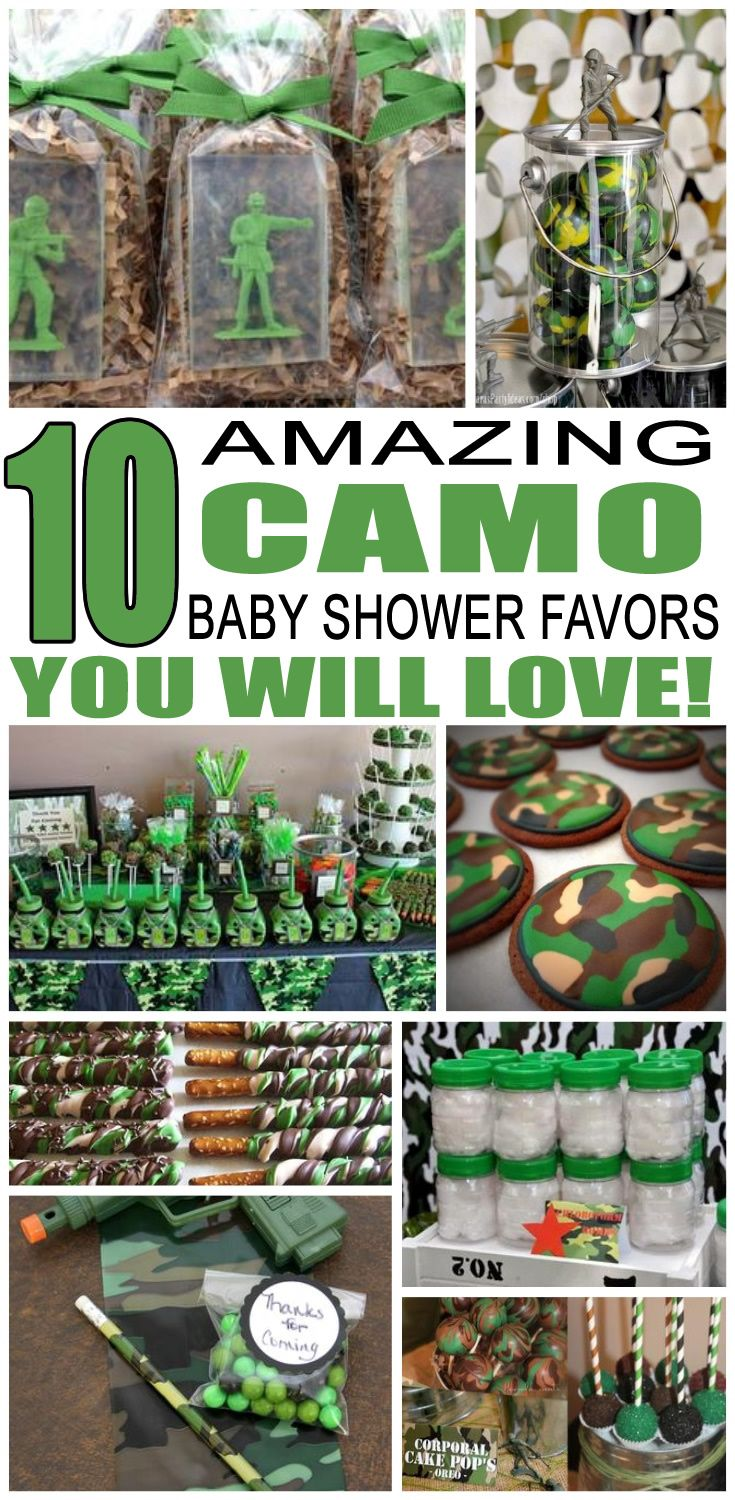Camo Baby Shower Favors  Baby shower camo, Baby shower games