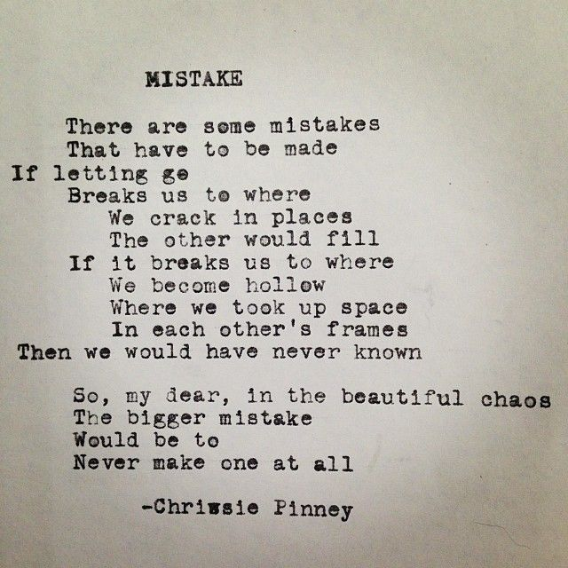 mistakes poems