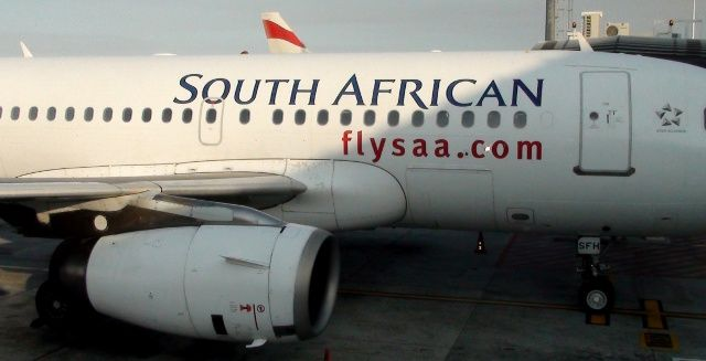 SAA plane parked at Cape Town International Airport, South Africa