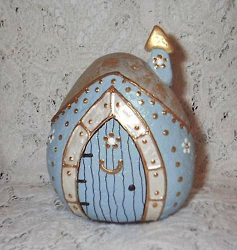 Light Blue Rock Fairy Houses by Sweet2Spicy, via Flickr