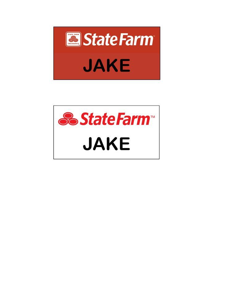 Easy teen boy Halloween Costume! Jake from State Farm name tags to make the easiest Halloween costume ever. Made in both red and white, print it out, cut it out and either just laminate it and put a pin back on, or just cut it out and tape it to your shirt. Be sure to wear a red polo shirt and khakis! You could also walk around with a phone receiver in your hand if you are at a party! Enjoy