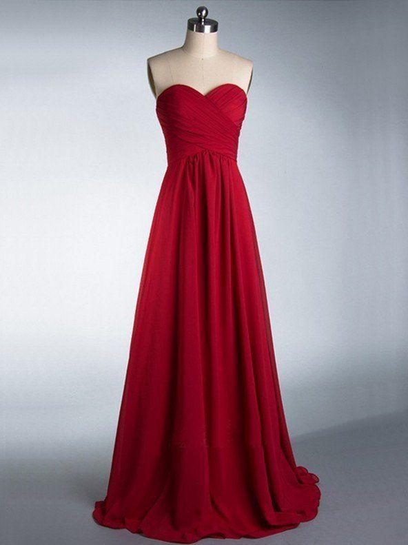 Strapless Bridesmaid Dresses,Burgundy Chiffon Bridesmaid Dresses,Cheap –…