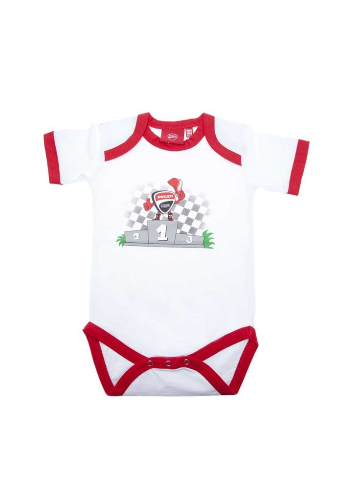 #Romper suit from the Ducati Corse 2017 collection. White #rompersuit with red edging. The podium with the cartoon version of the #Ducati Corse shield is featured in the centre on the number 1