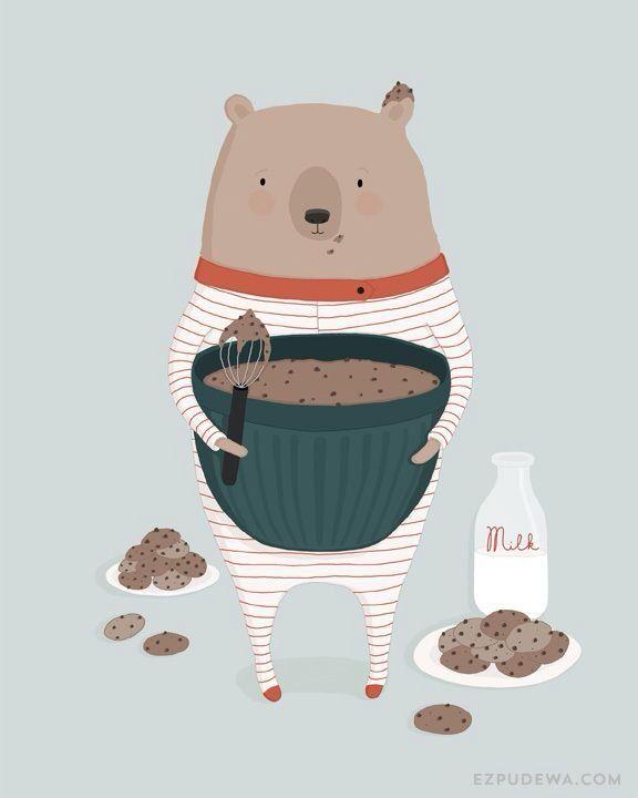 Soy un oso cocinando <3